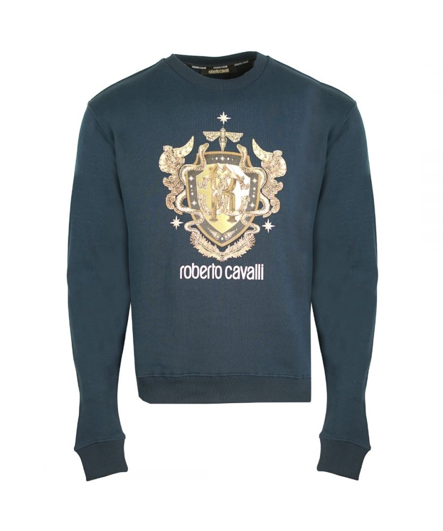 Image for Roberto Cavalli RC Gold Shield Logo Navy Jumper