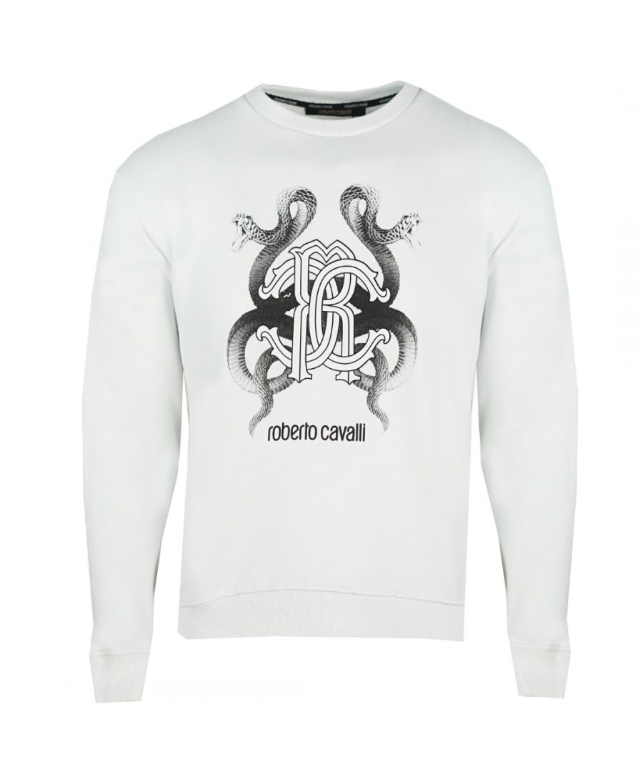 Image for Roberto Cavalli RC Snake Logo White Jumper
