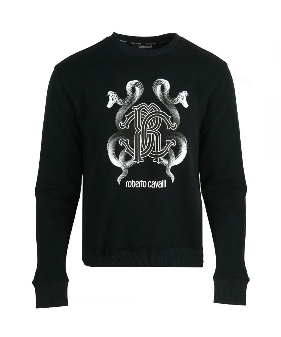Image for Roberto Cavalli RC Snake Logo Black Jumper