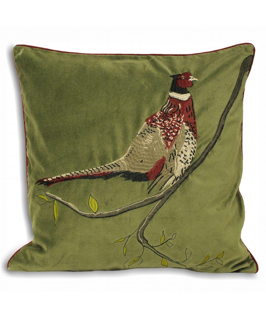 Image for H/Velvet 45X45 P/C Pheasant Gree