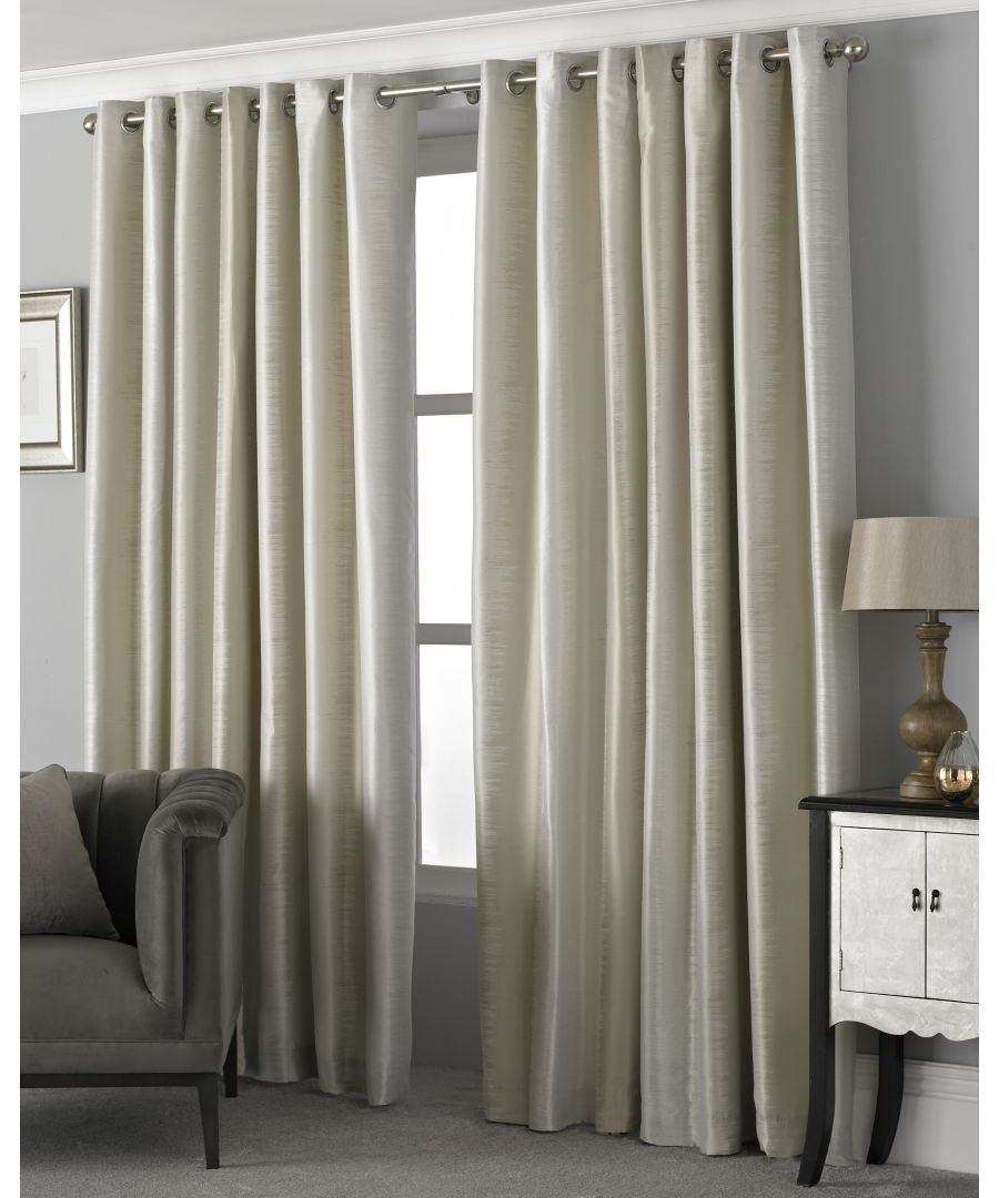 Image for Hurlingham Shimmer Eyelet Curtains in Champagne
