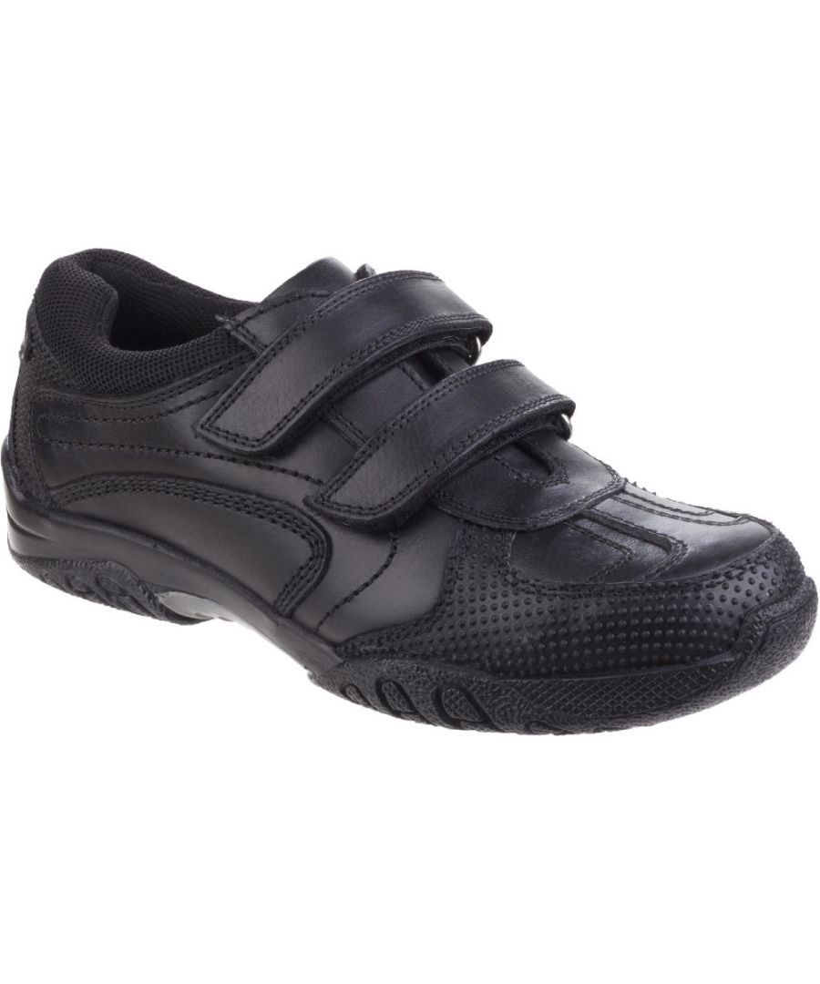 Image for Hush Puppies Boys Jezza Senior Leather Smart Textile Padded Shoes