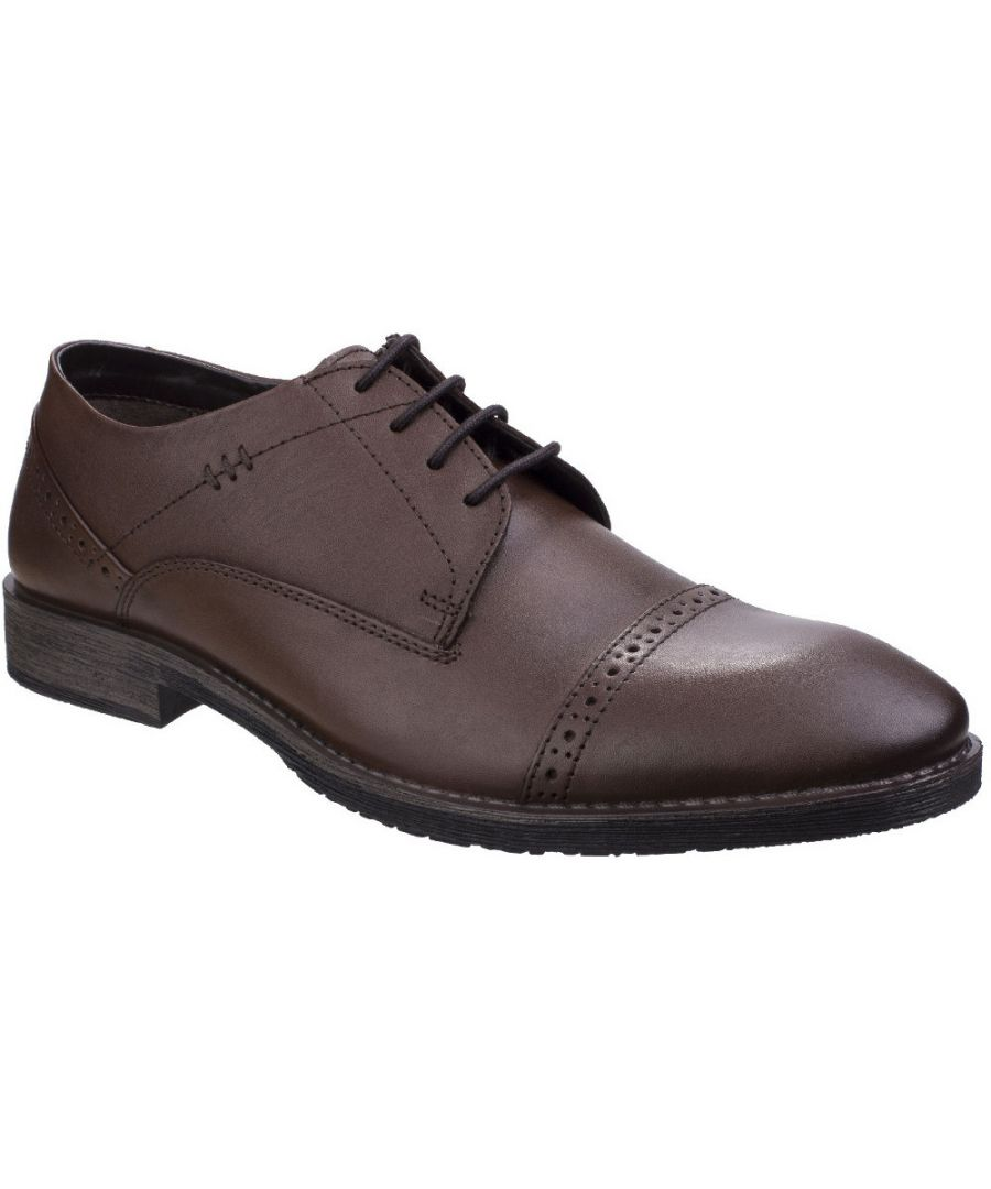 Image for Hush Puppies Mens Craig Luganda Leather Brogue Formal Oxford Shoes