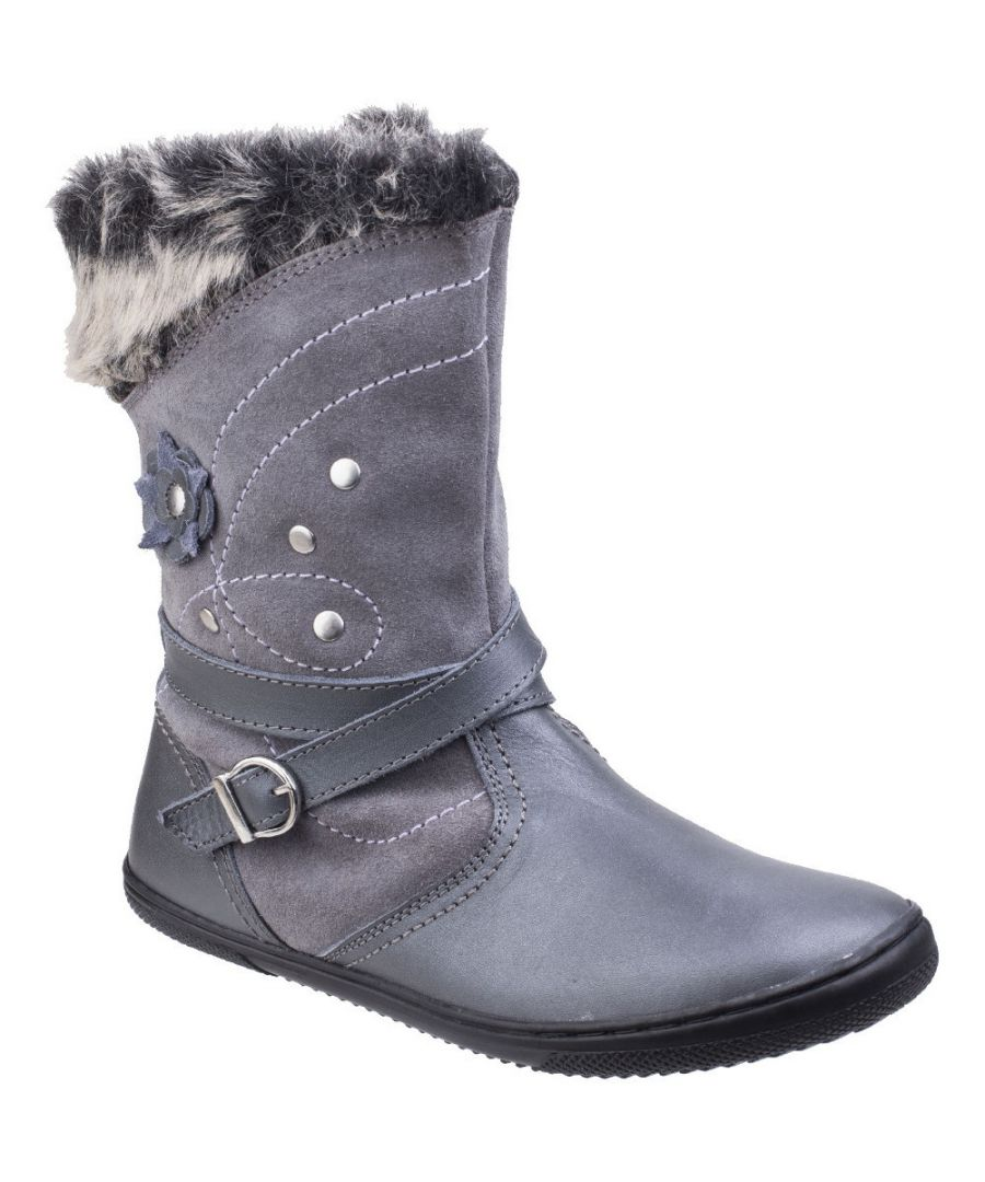 Image for Hush Puppies Girls Pippa Suade Leather Fur Lined Pull on Casual Boots