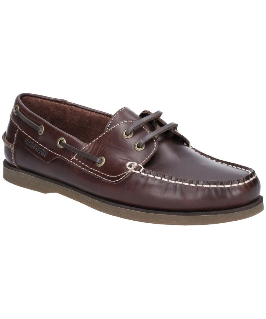 Image for Hush Puppies Mens Henry Classic Lace Up Leather Boat Shoes
