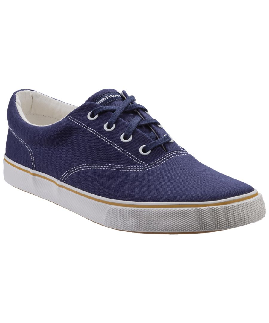 Image for Hush Puppies Mens Chandler Canvas Lace Up Plimsolls Shoes
