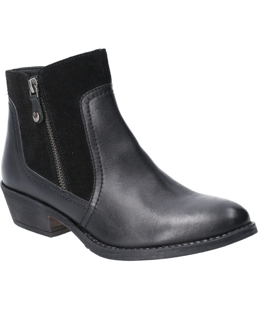 Image for Hush Puppies Womens Isla Zip Up Leather Suede Ankle Boots
