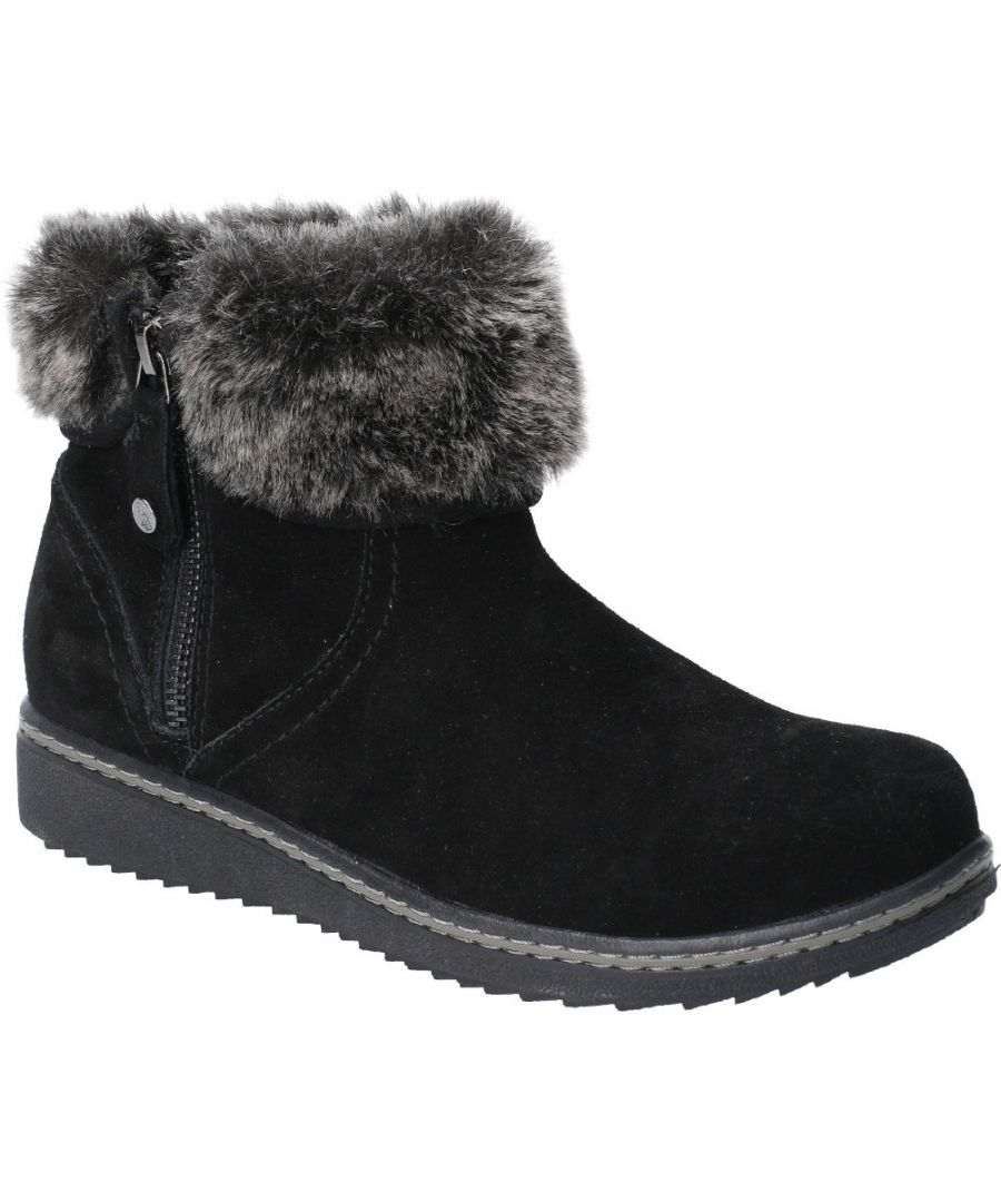 Image for Hush Puppies Womens Penny Fur Collared Zip Up Ankle Boots