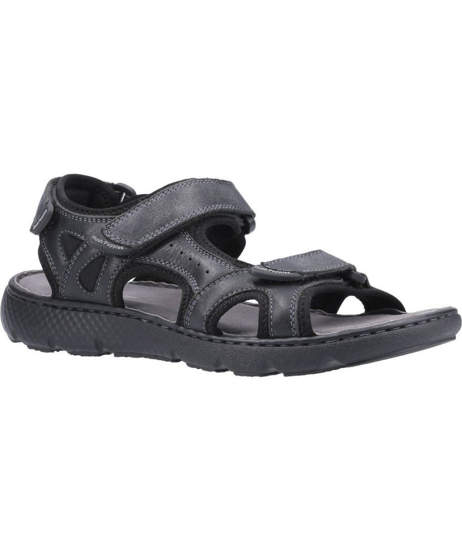 Image for Hush Puppies Mens Carter Strap Leather Summer Sandals