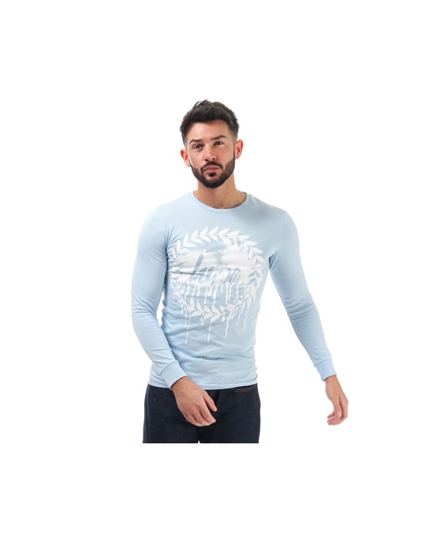 Image for Men's Hype Long Sleeve Drip Crest T-Shirt in Blue-White