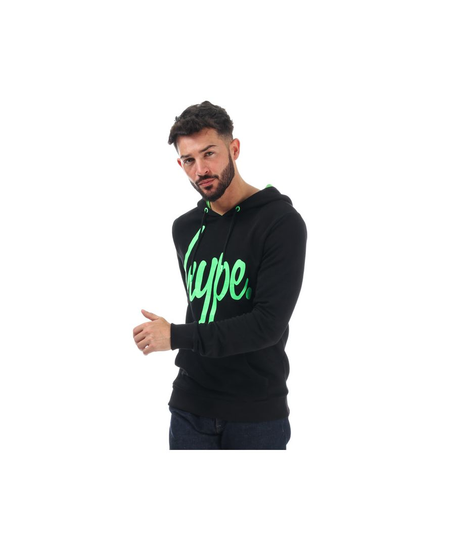 Image for Men's Hype Neon Script Hoody in Black