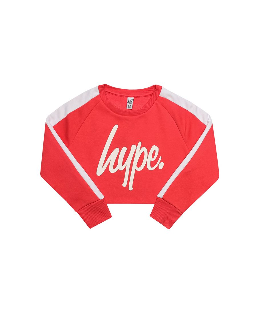 Image for Girl's Hype Junior Side Stripe Crop Crew Neck in Pink white