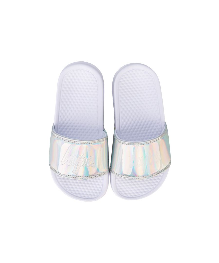 Image for Girl's Hype Children Holographic Sliders in Silver