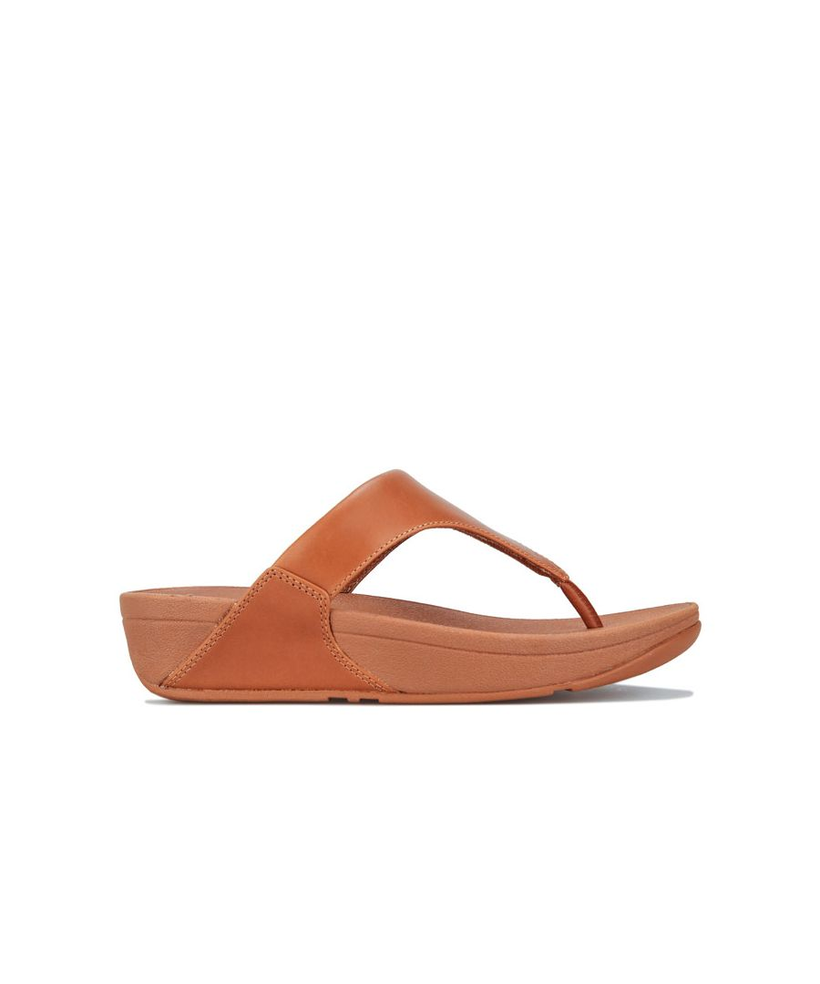 Image for Women's Fit Flop Lulu Leather Toe Thong Sandals in Camel