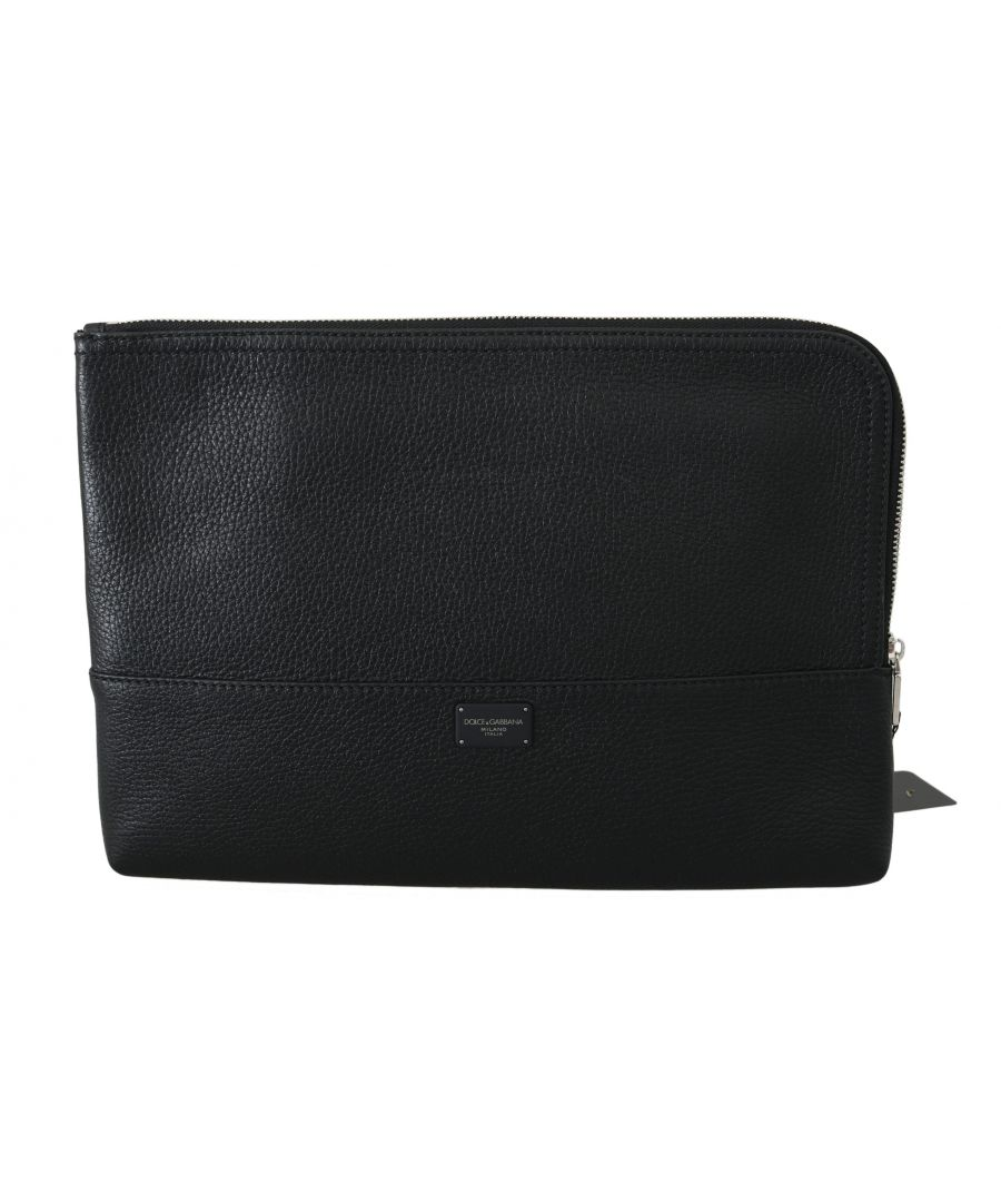 Image for Dolce & Gabbana Black Zipper Document Hand Purse Pouch Bag