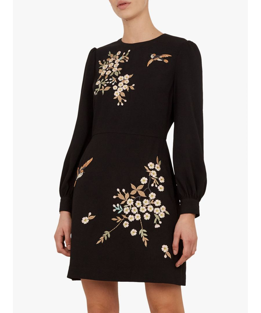 Image for Lillien Graceful Embroidered Dress in Black