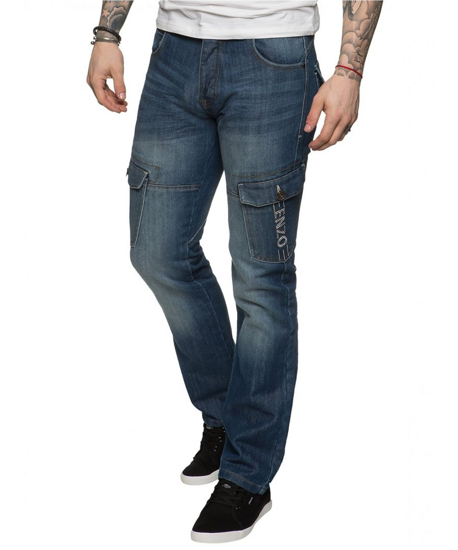 Image for Mens Straight Fit Cargo Denim Jeans Mid Stonewash | Enzo Designer Menswear