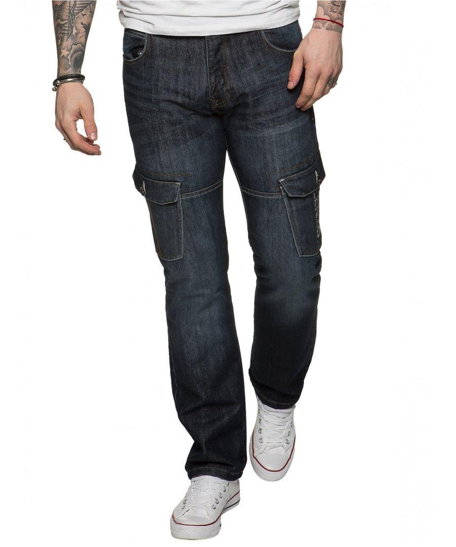 Image for Mens Straight Fit Cargo Denim Jeans Dark Stonewash | Enzo Designer Menswear