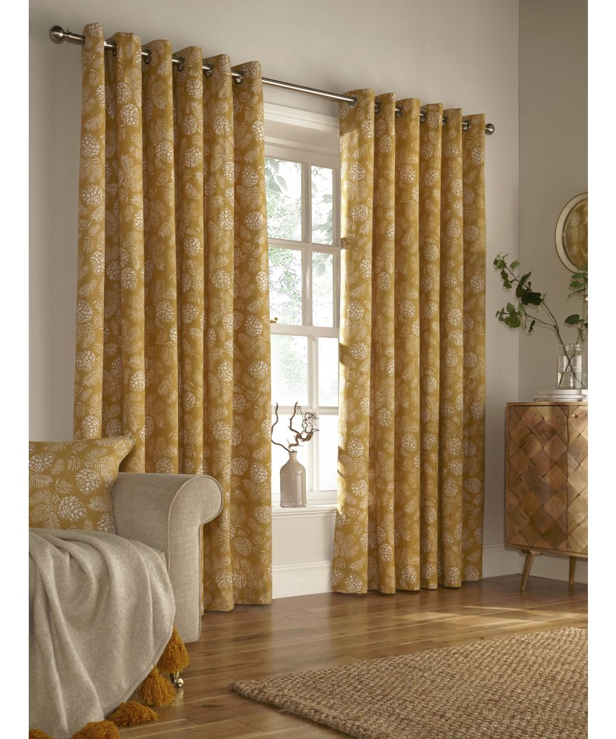 Image for Irwin Printed Woodland Eyelet Curtains in Mustard