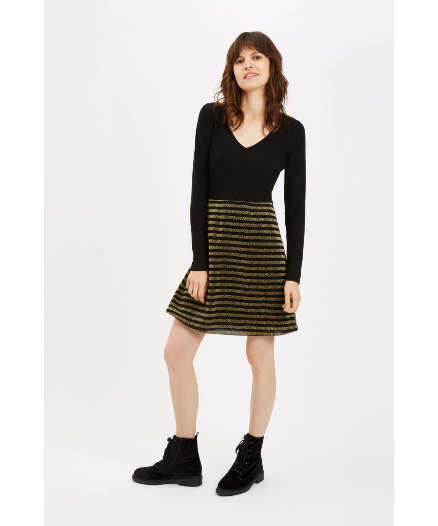Image for Metallic Long Sleeve Nolan Mini Dress in Gold