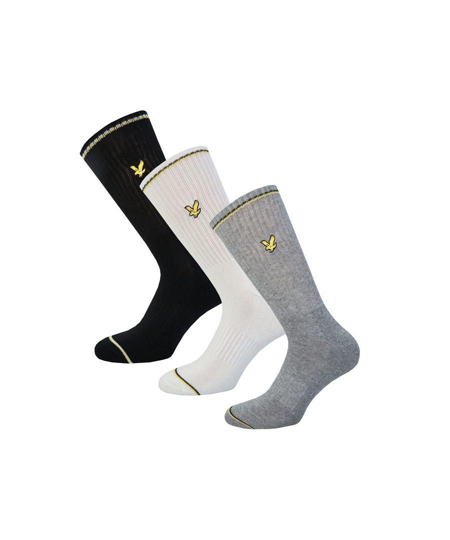 Image for Men's Lyle And Scott Ivan 3 Pack Gift Box Socks in Black Grey White