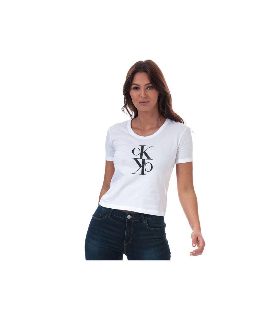 Image for Women's Calvin Klein Monogram Baby T-Shirt White 12-14in White