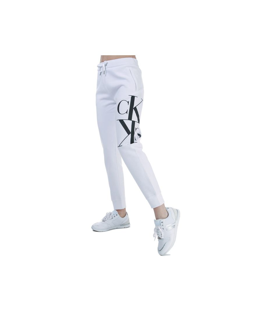 Image for Women's Calvin Klein Mirrored Monogram Jog Pants White 8-10in White