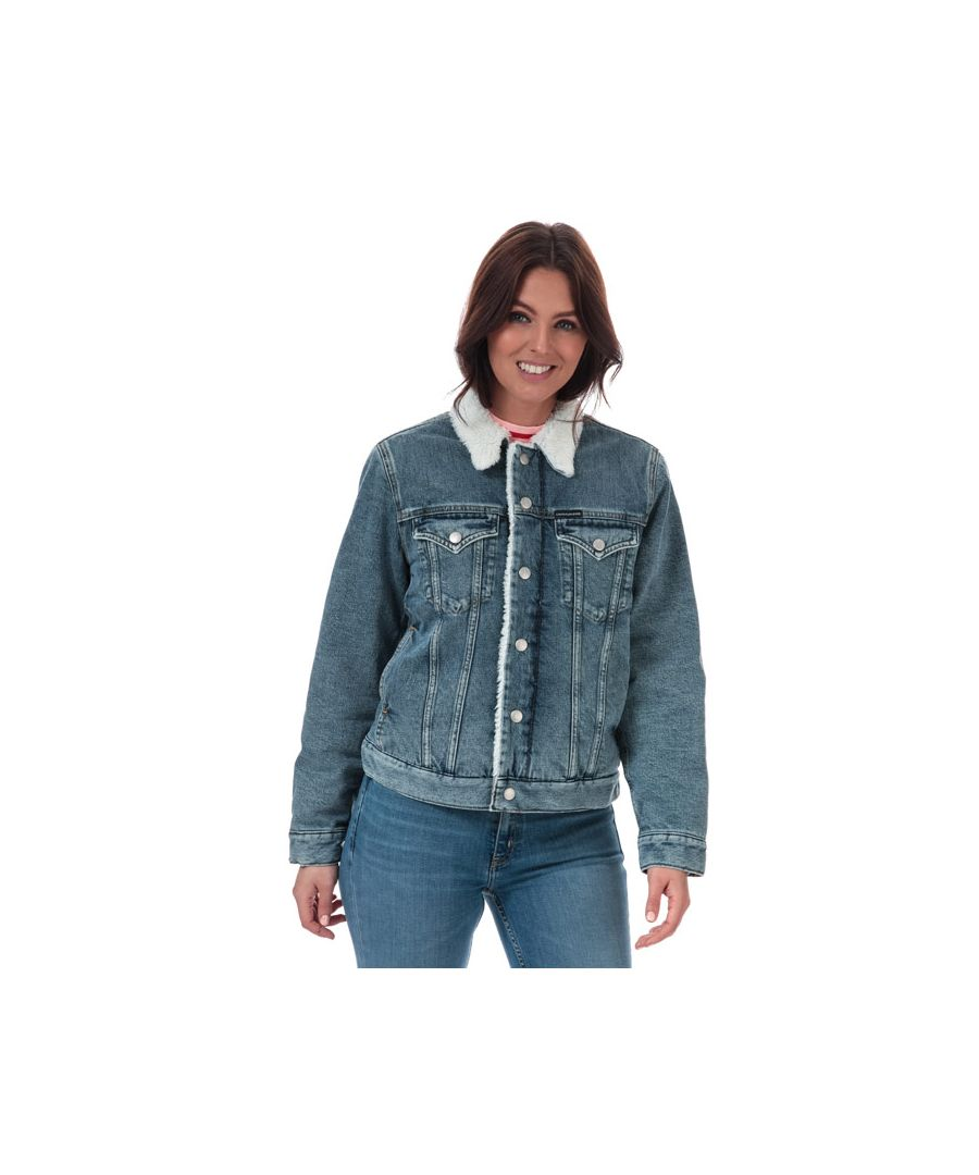 Image for Women's Calvin Klein Sherpa Denim Trucker Jacket Blue 8-10in Blue