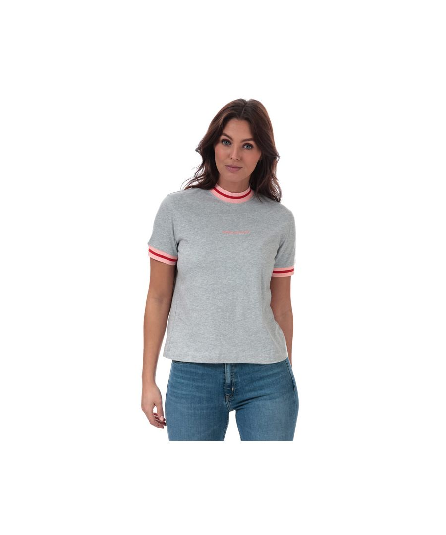 Image for Women's Calvin Klein Neck And Cuff Tipping T-Shirt Grey Heather 8-10in Grey Heather