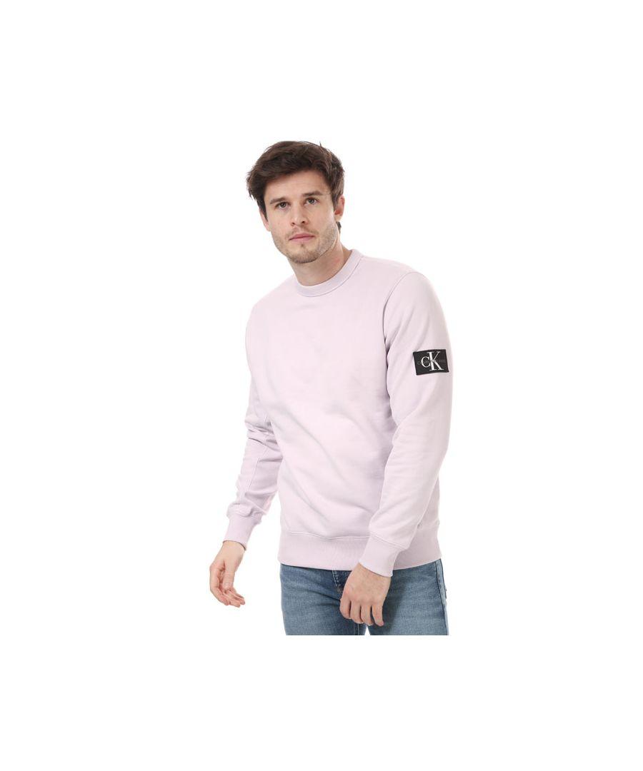 Image for Men's Calvin Klein Monogram Badge Sweatshirt Pink Sin Pink