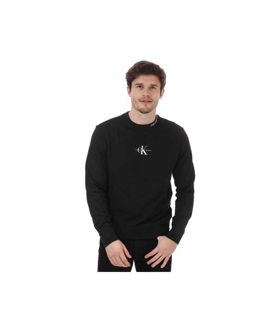 Image for Men's Calvin Klein Center Monogram Sweatshirt Black Sin Black
