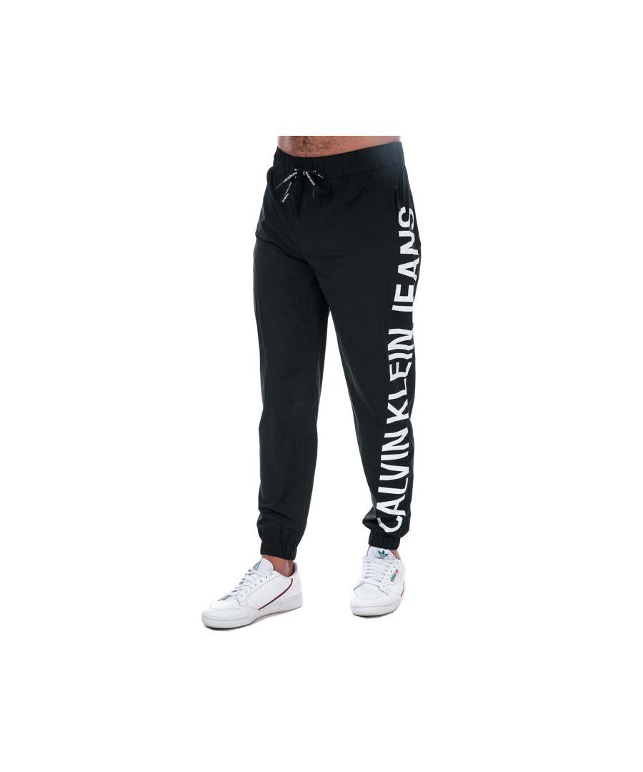 Image for Men's Calvin Klein Stretch Logo Nylon Jog Pants in Black