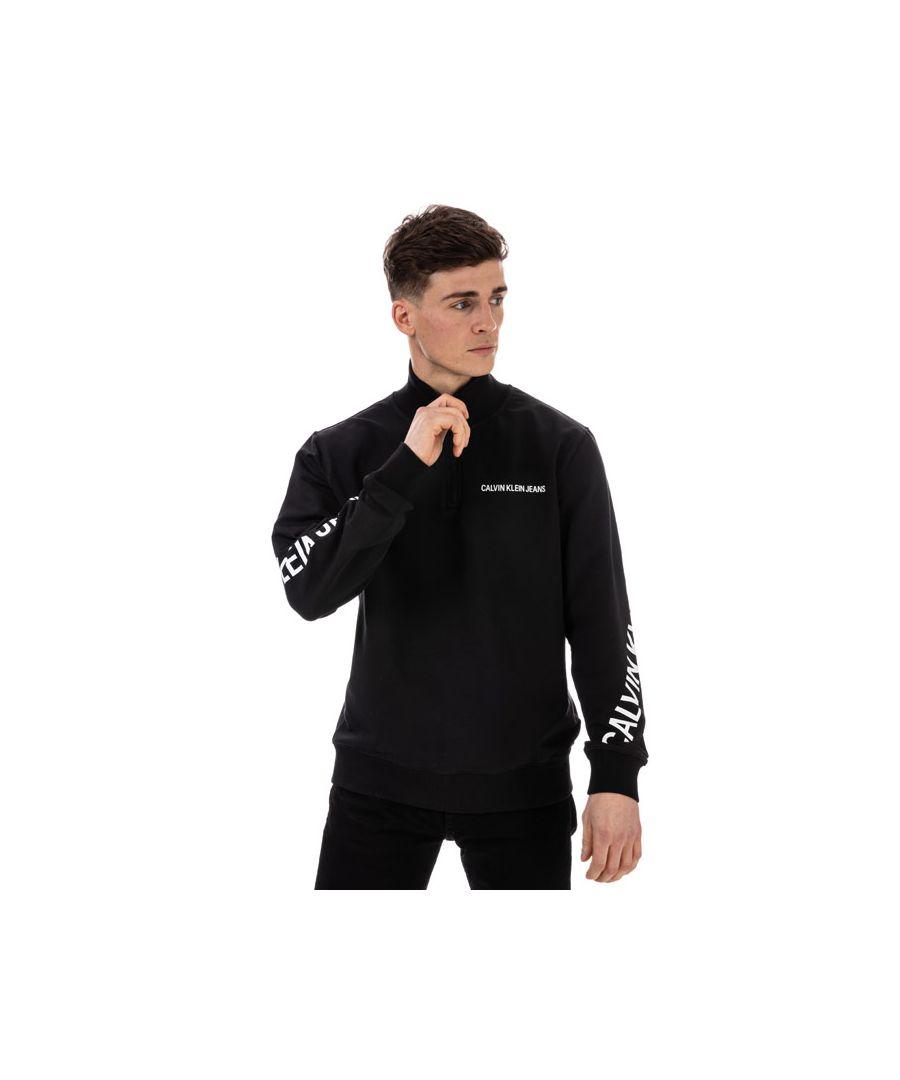 Image for Men's Calvin Klein Stretch Fleece Zip Neck Sweatshirt in Black