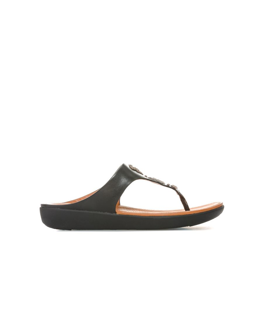 Image for Women's Fit Flop Banda II Crystal Leather Toe Thong Sandals in Black