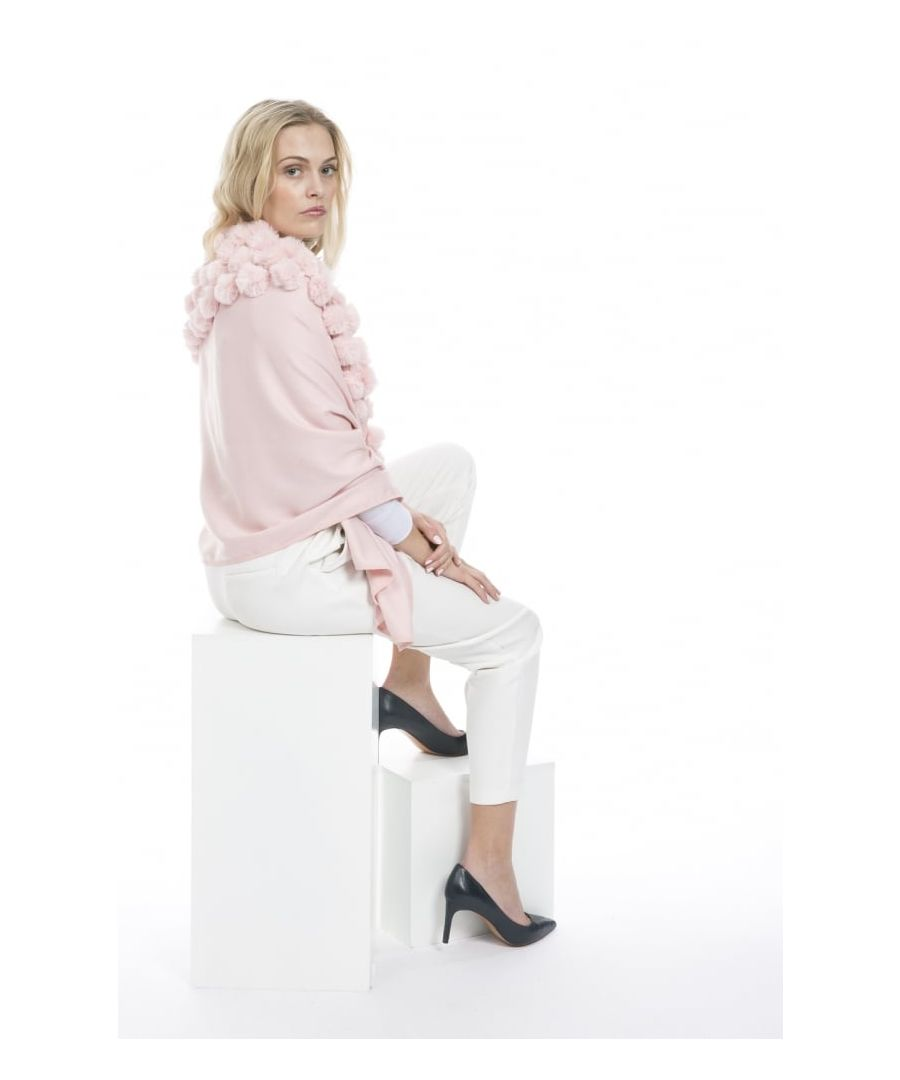 Image for Cashmere Blend Faux Fur Pompom Wrap