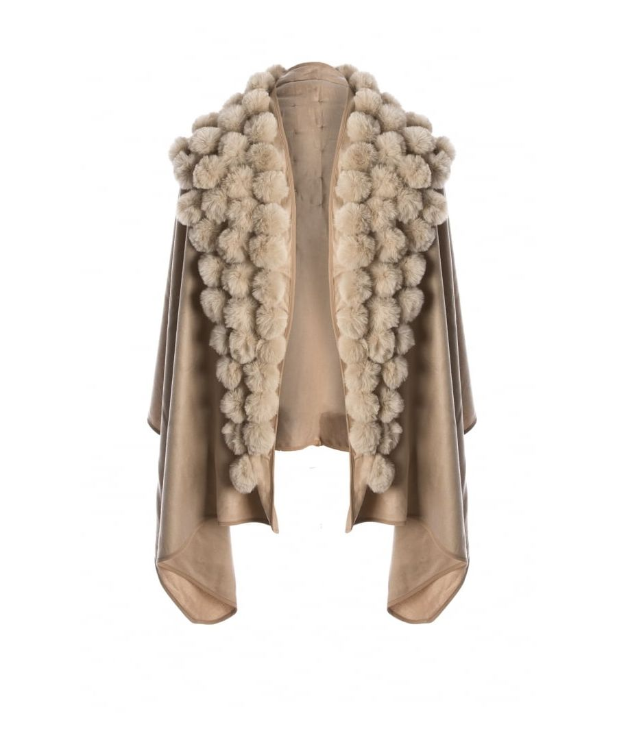 Image for Cashmere Blend Faux Fur Pompom Wrap