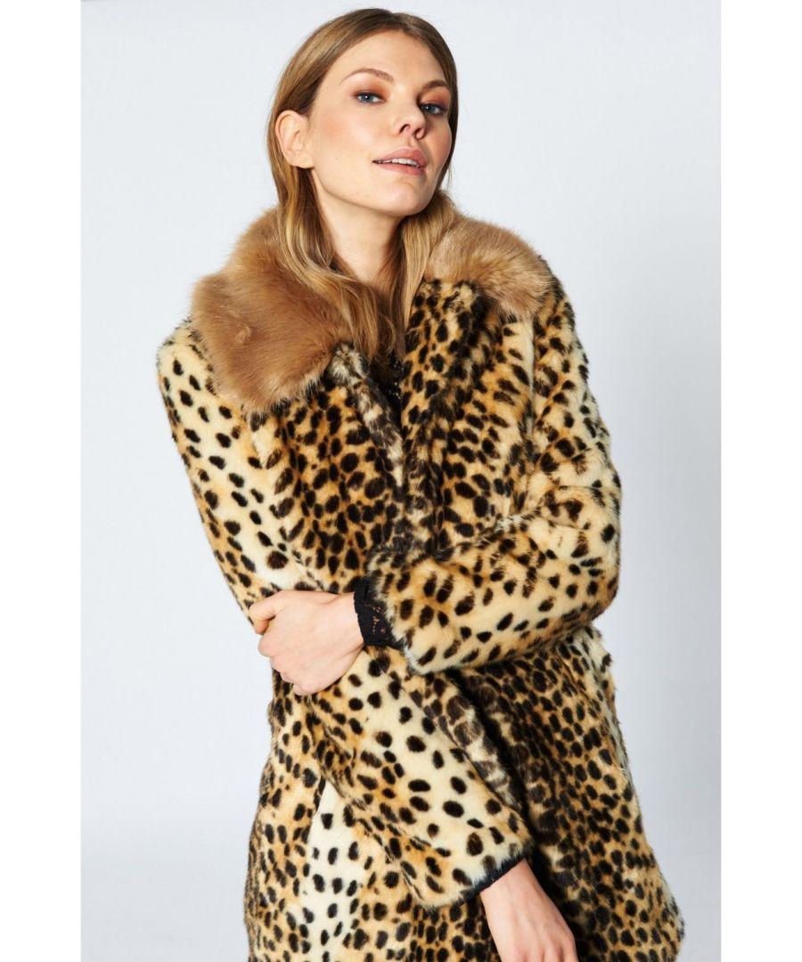 Image for JAYLEY\nFaux Fur Cheetah Print Coat