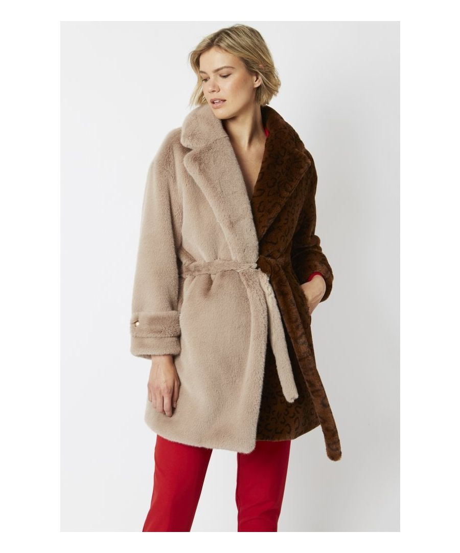 Image for Faux Fur Coat with Tie Waist