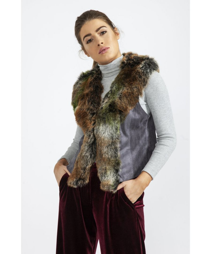 Image for Luxury Faux Fur Suede Gilet