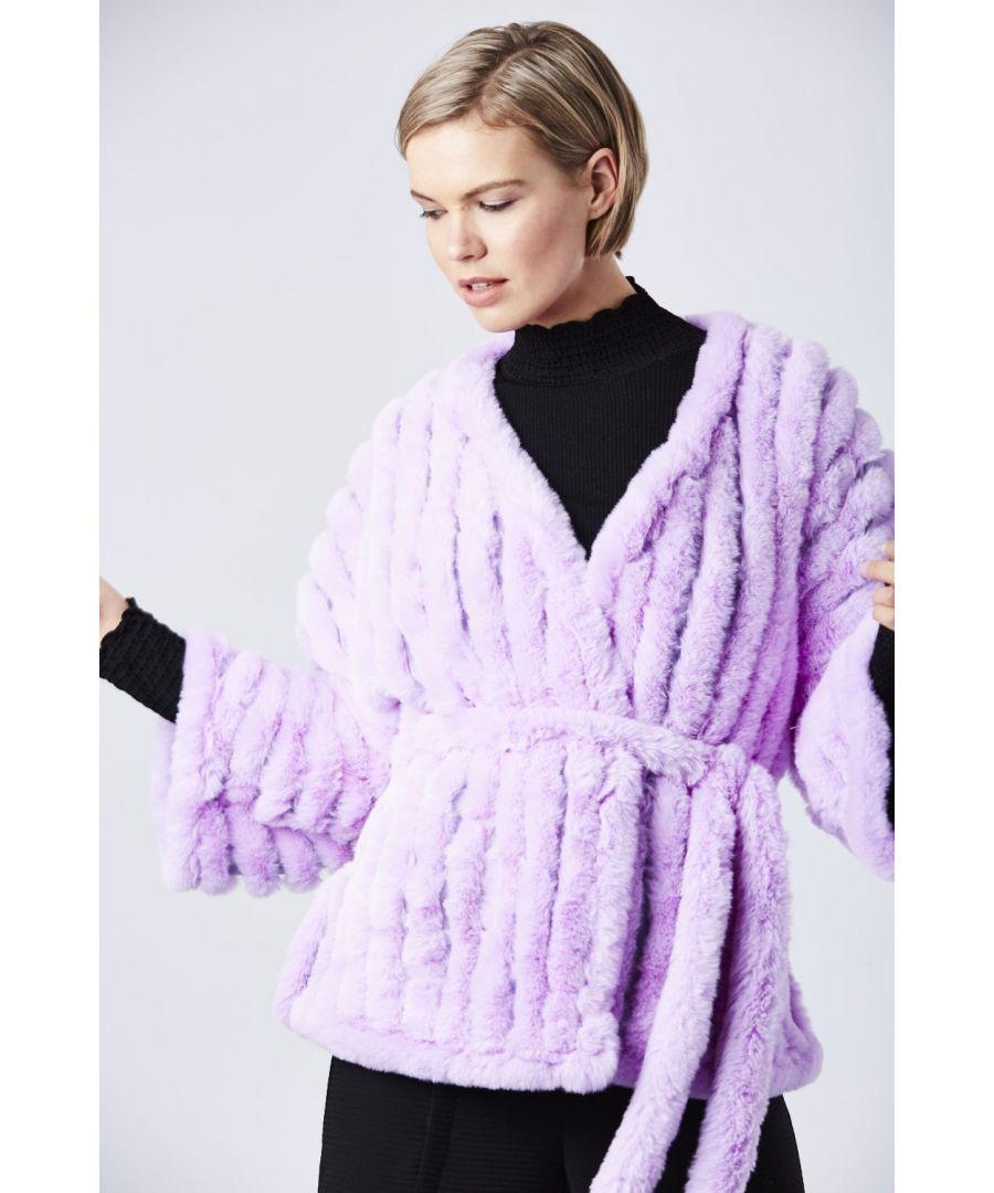 Image for Faux Fur Kimono Jacket