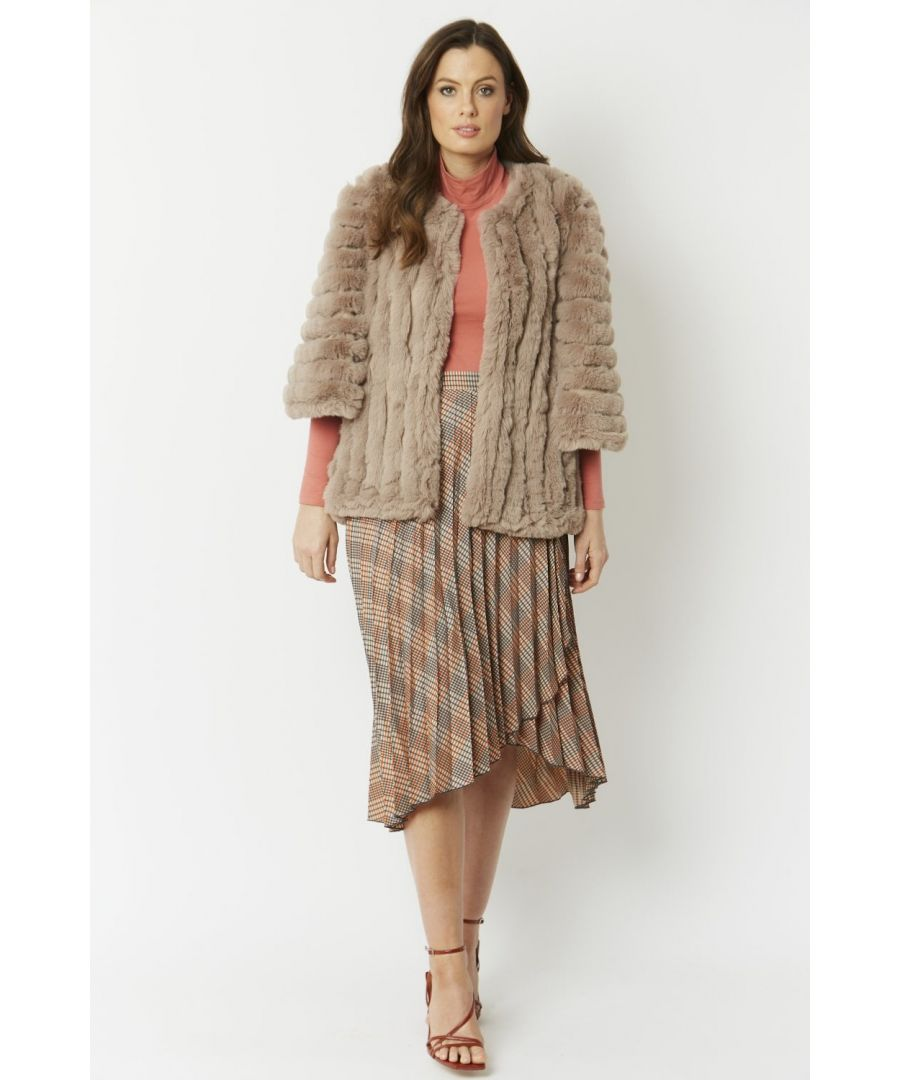 Image for Faux Fur Faux Suede Striped Cape Coat