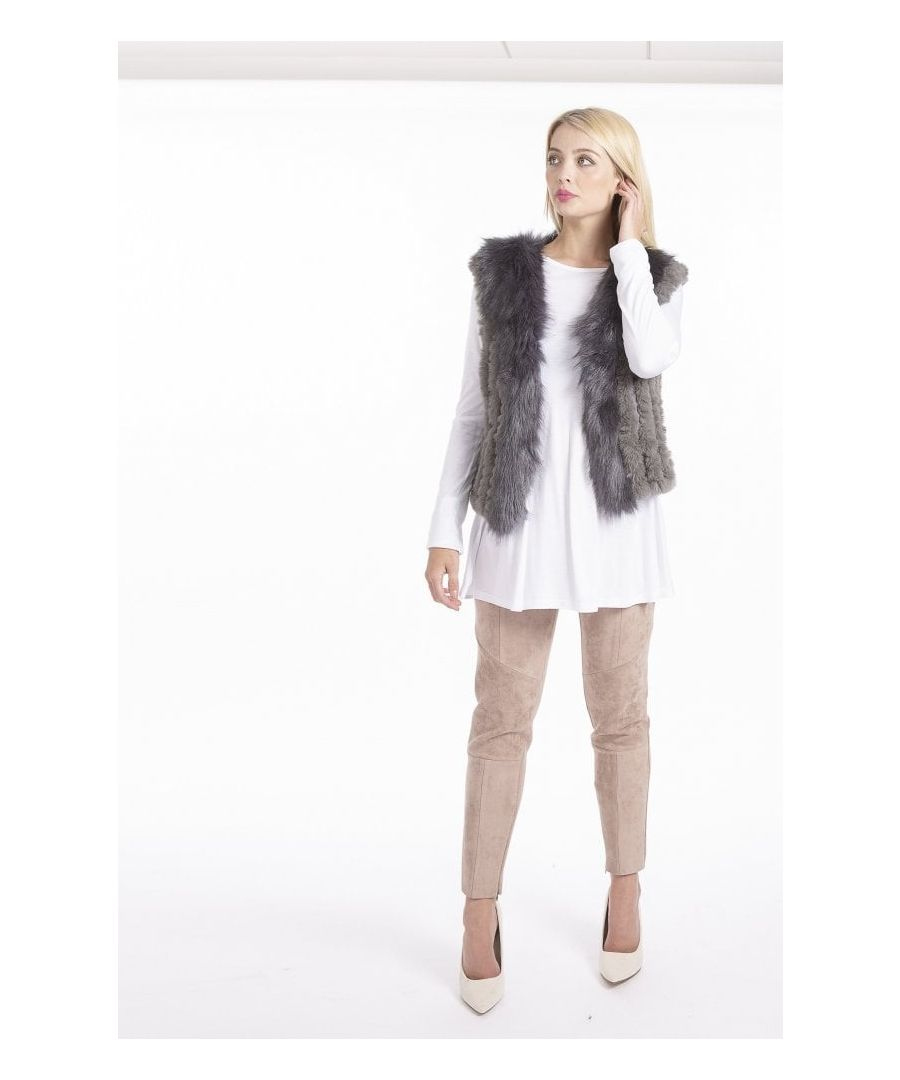 Image for Faux Suede & Knitted Faux Fur Gilet