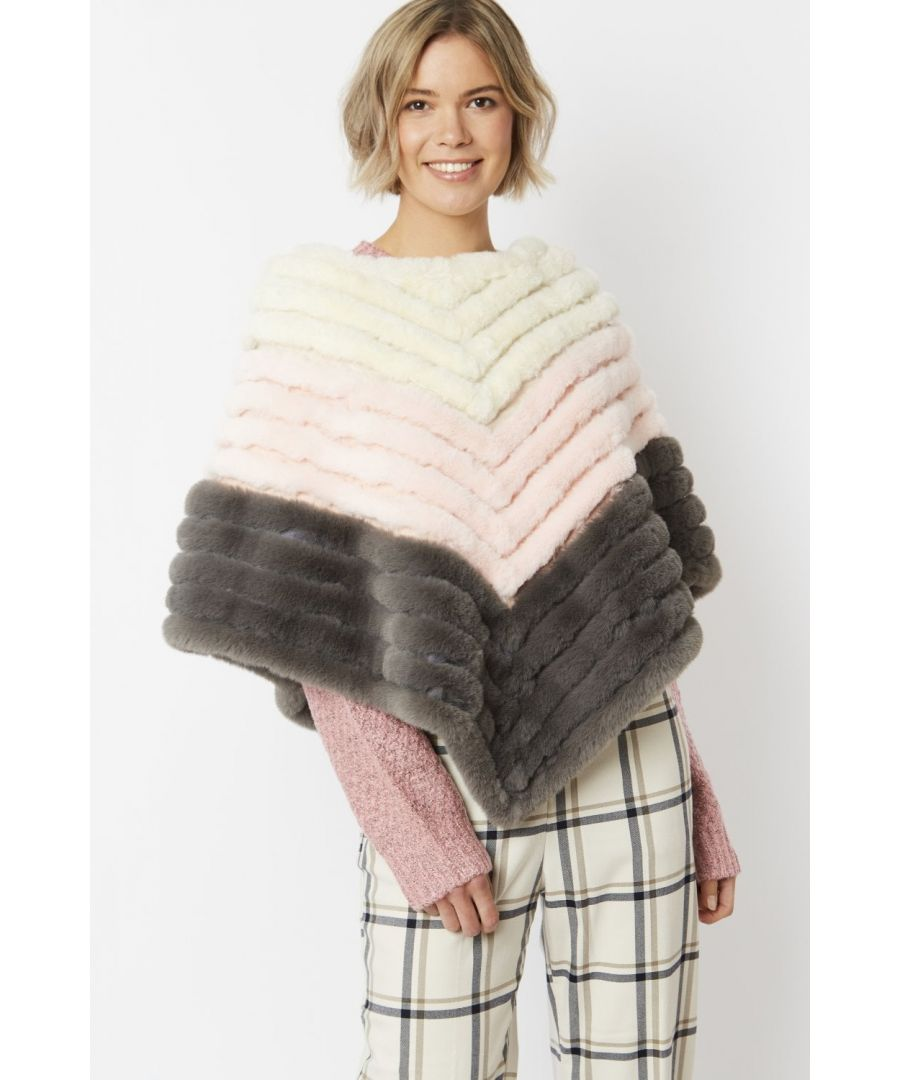 Image for Faux Fur Faux Suede Striped Poncho