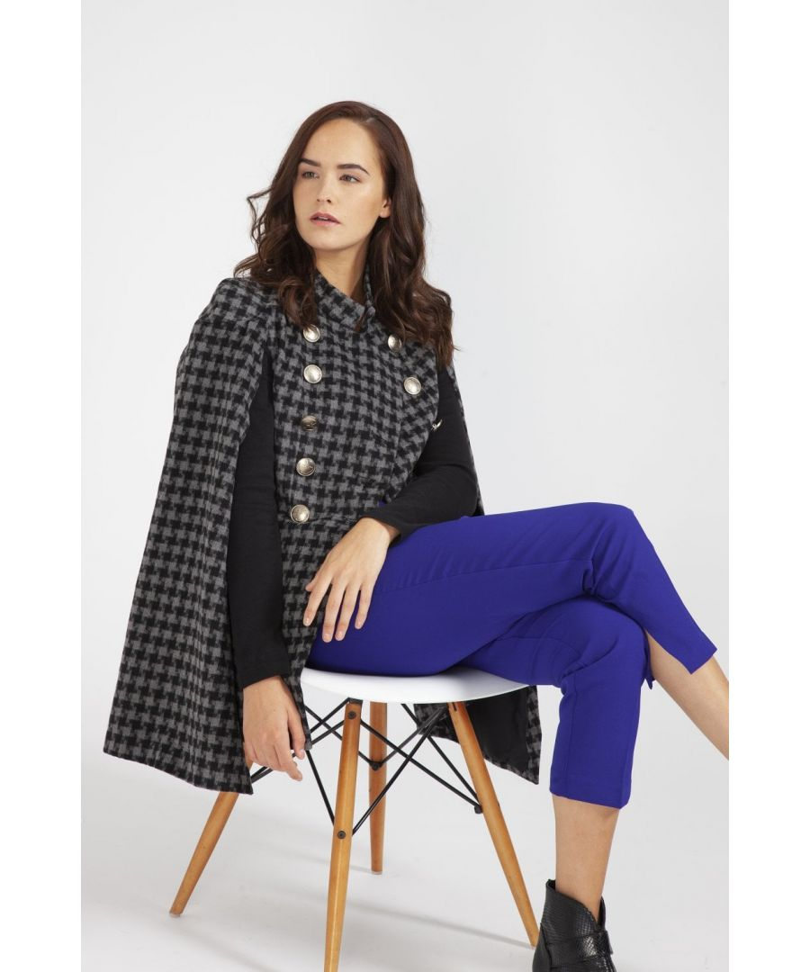 Image for Houndstooth Cape Coat with Military Buttons