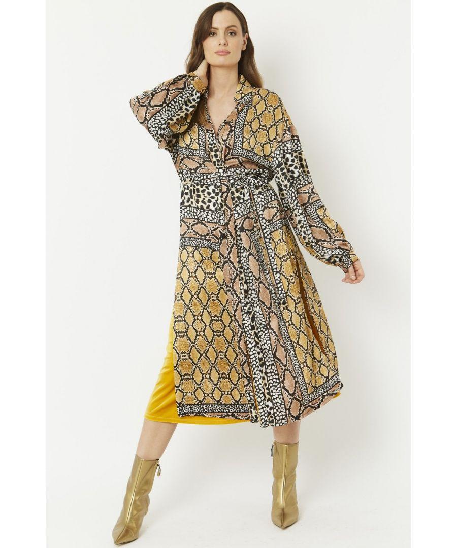 Image for Silk Blend Shirt Dress With Side Splits & Tie Waist