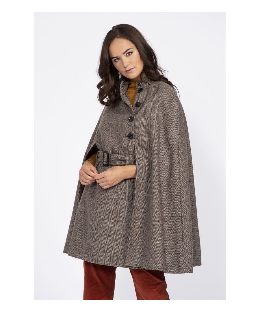 Image for Tweed Effect Twill Cape Coat
