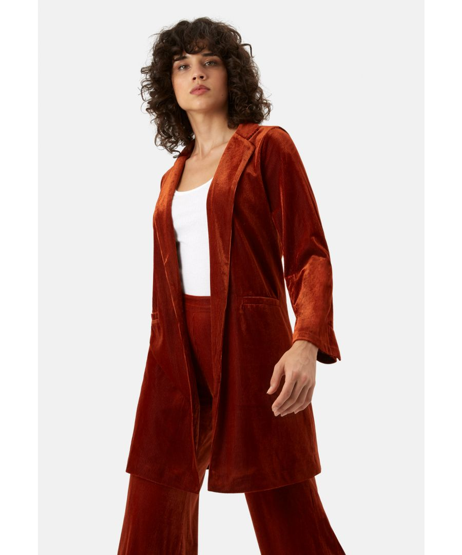 Image for Don Velvet Long Sleeve Jacket in Rust Brown