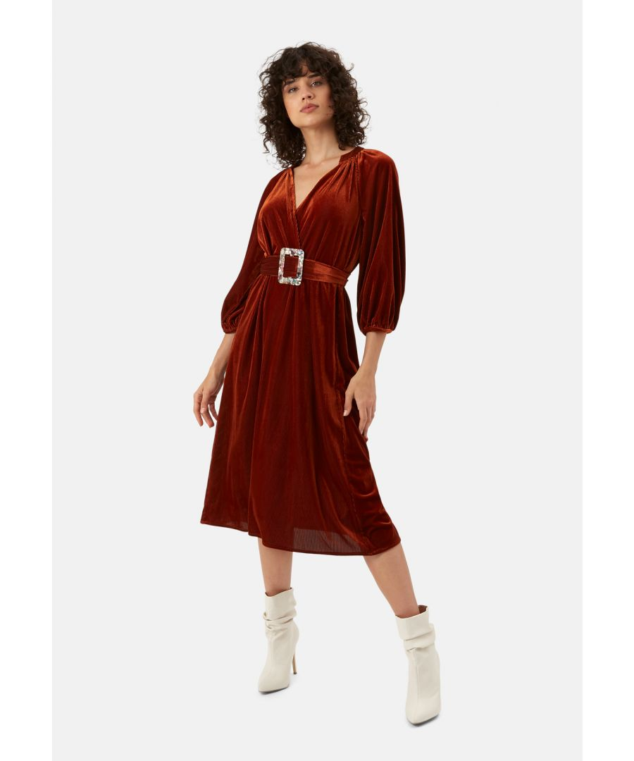 Image for Belt Up V-neck Midi Dress in Rust Brown