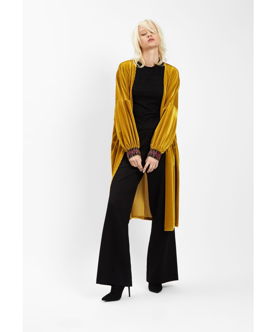 Image for JIC Velvet Long Duster Jacket in Gold