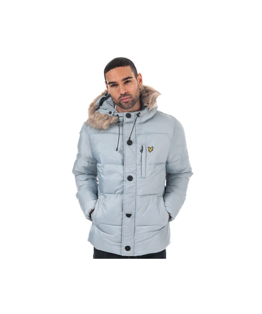 Image for Men's Lyle And Scott Wadded Hooded Bomber Jacket in Silver